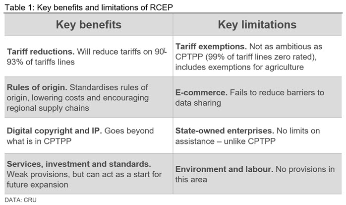 Table showing the key benefits and limitations of RCEP