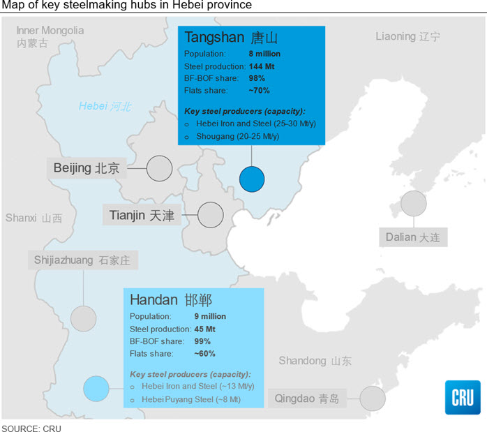 Map of key steelmaking hubs in Hebei province